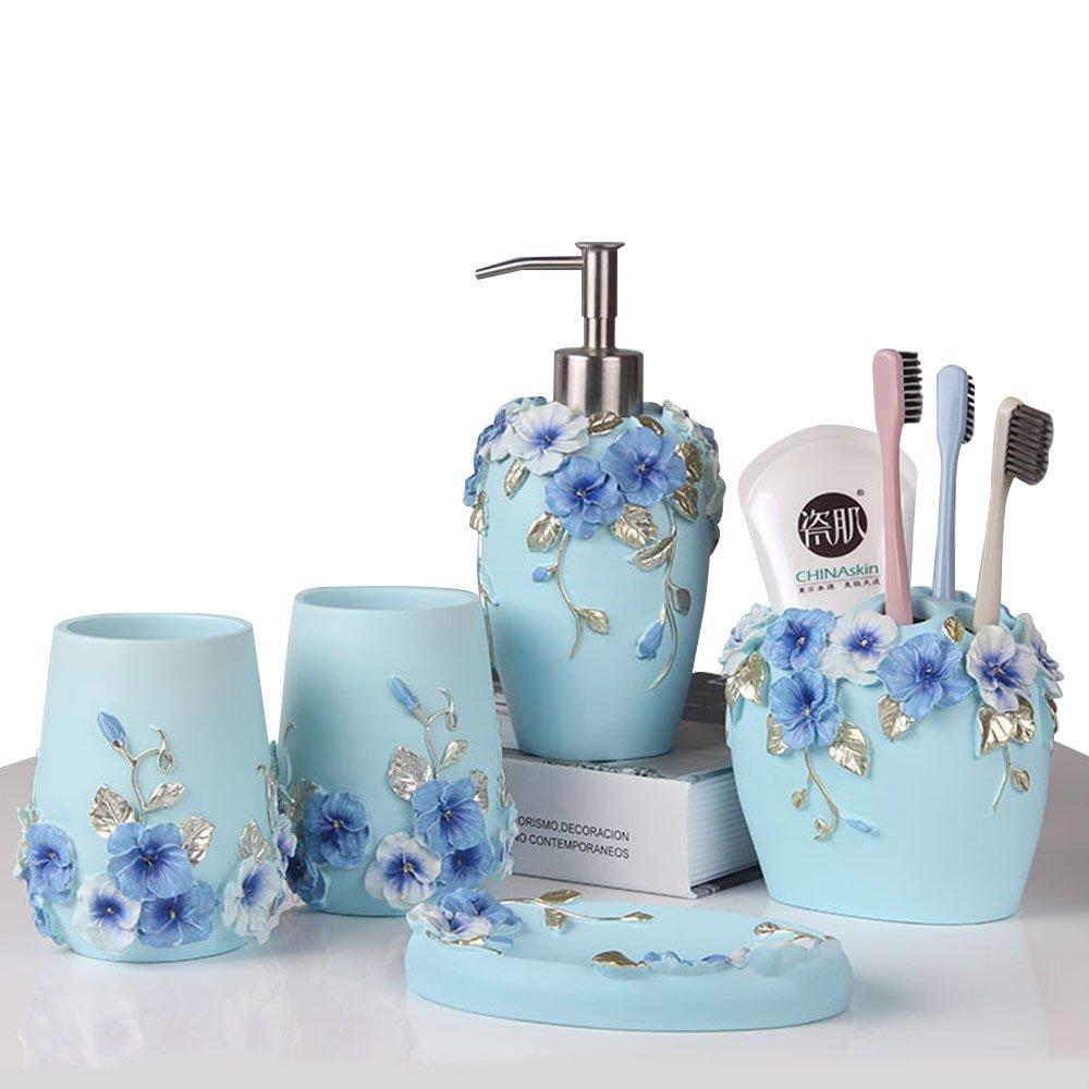 LUANT Bathroom Accessories Set, 5-Piece Bathroom Gift Set Features Soap Dispenser Pump, Toothbrush Holder, Tumbler & Soap Dish, Durable Bath Set Decorating Ideas (Blue)