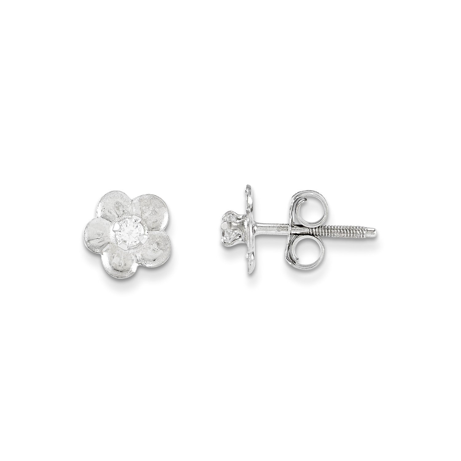 Roy Rose Jewelry 14k White Gold Madi K Collection Flower Earrings