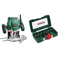 Bosch POF 1200 AE - Fresadora de superficie, fresa de ranurar, adaptador de aspirar, llave…
