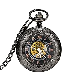 Vintage Gothic Steampunk Skeleton Mechanical Pocket Watch with Chain for Men Woman (Black CH172)