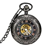 Carrie Hughes Steampunk Black Copper Case Skeleton Mechanical Pendant Pocket Watch with Chain CH172