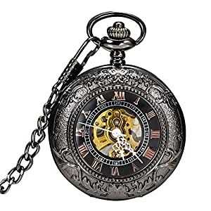 Carrie Hughes Men's Vintage Black Gothic Steampunk Skeleton Mechanical Pocket Watch with Chain Gifts