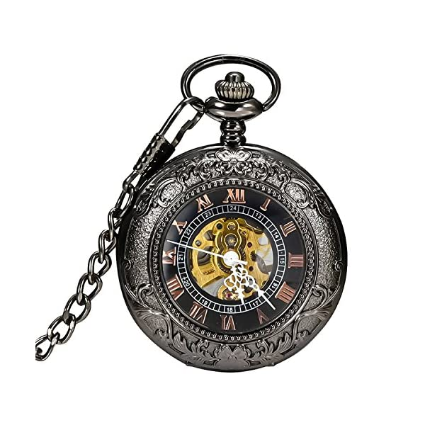 Carrie Hughes Men's Vintage Black Gothic Steampunk Skeleton Mechanical Pocket Watch with Chain Gifts 3