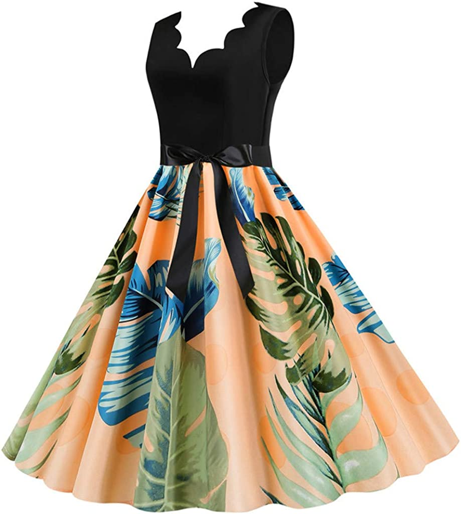 Eoeth Women Vintage Sleeveless Floral Printed 1950s Evening Party Prom Dress Pleated Swing T-Shirt Strappy A-line Dresses