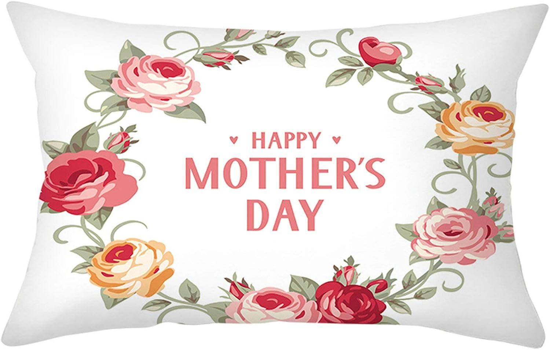 AMDXD Funda Cojines Poliéster, Funda Cojines para Sofa Happy Mother's Day con Guirnalda Sofá Cama Coche Decoración para Hogar , Rosa Verde Blanco, 30x50cm