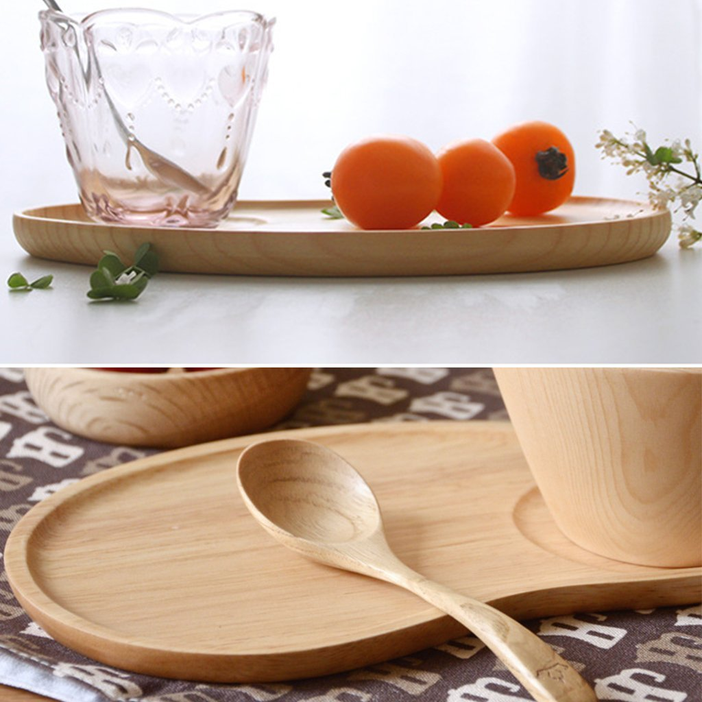 Set of 2 Fancy Wooden Platter Small Serving Tray Kids Plate for Appetizer, Cheese, Salad, Dessert Divided Dish by Ren Handcraft (Image #5)