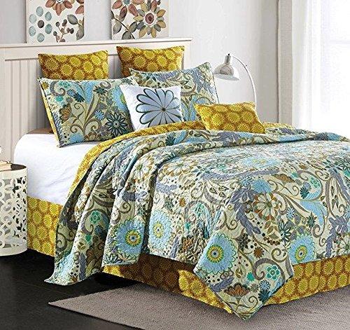 Virah Bella Reversible Blue Flower and Vines / Gold Sun Burst 5 Piece Quilt,Sham, and Throw Pillow Set (Carine, King)