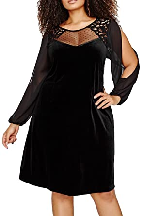Fixmatti Women Plus Size Dress Sheer Long Sleeve Loose Shorts Velvet