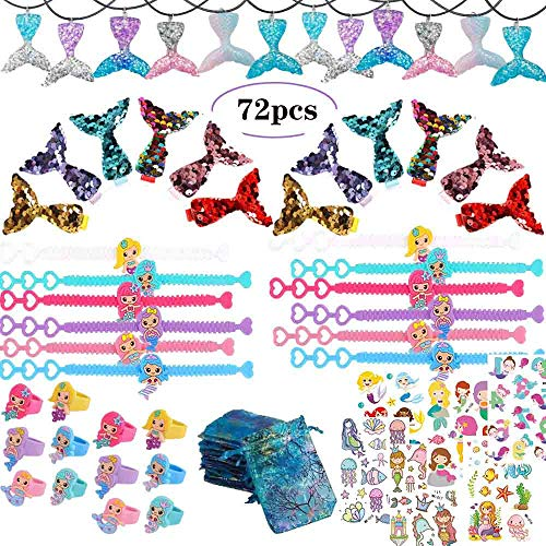 Snailmon 72 Pack Mermaid Party Favors Supplies,Mermaid Bracelet, Ring, Hair Clip,Necklace, Sticker Tattoo, Favor Bag Mermaid Accessories Kit, Birthday Party Favors for Girls Kids]()