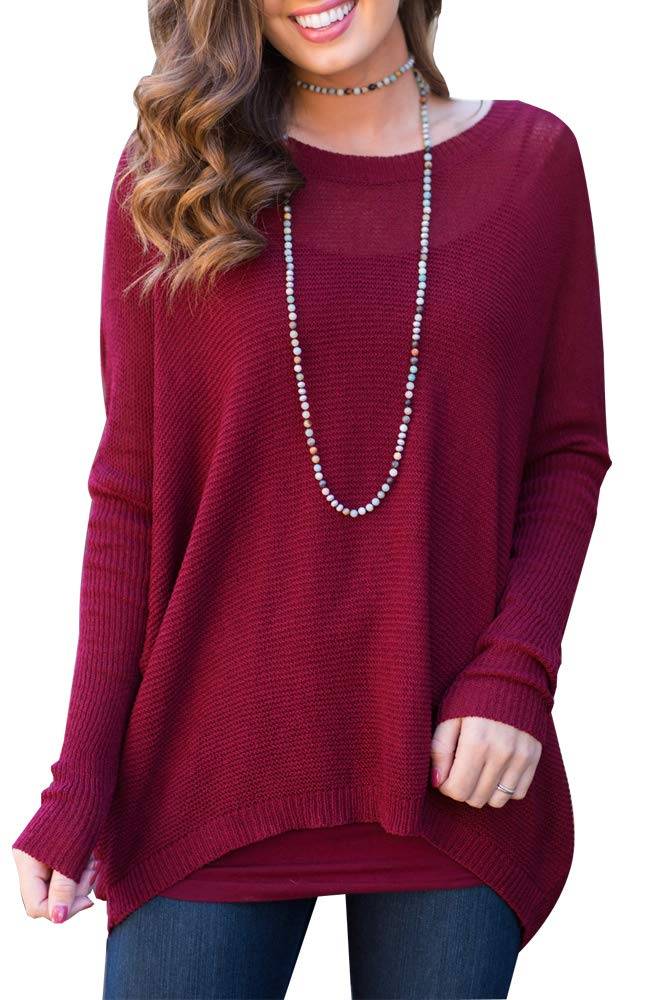 BOCOTUBE Women's Casual Crew Neck Batwing Sleeve Knit Sweater Tops Oversized Pullover Cardigan