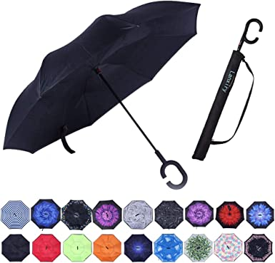 Windproof Reverse Folding Umbrella for Car C-Shaped Handle Umbrella Double Layer Inverted Umbrellas with Funny Book Lover Librarian Print