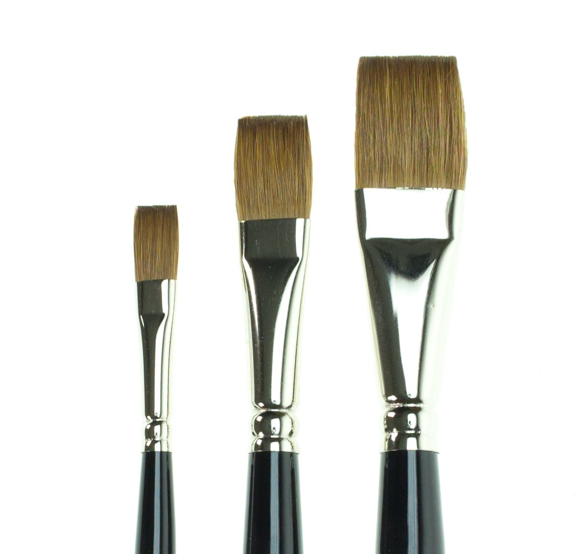 Set of 3 SAA Kolinsky Sable Flat Brushes + Free Brush Case