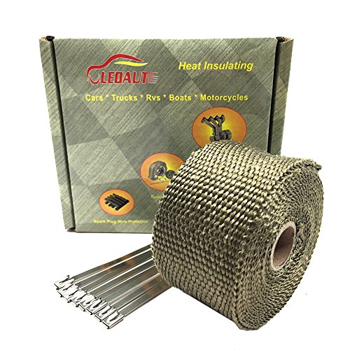 LEDAUT Heat Shield Insulation with Ties for Pipe 16' Roll Titanium Motorcycle Exhaust Tape Thermal Protection ()
