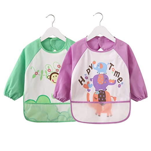 Amazon.com  Baby Bibs with Sleeves 2 Pack 96ad0a5d0364