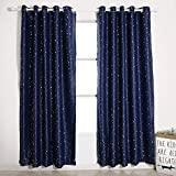 ZHH (One Panel Navy with Sliver Stars Pattern Blackout Panel Insulated Thermal Grommet Window Curtain, 60-Inch x 100-Inch