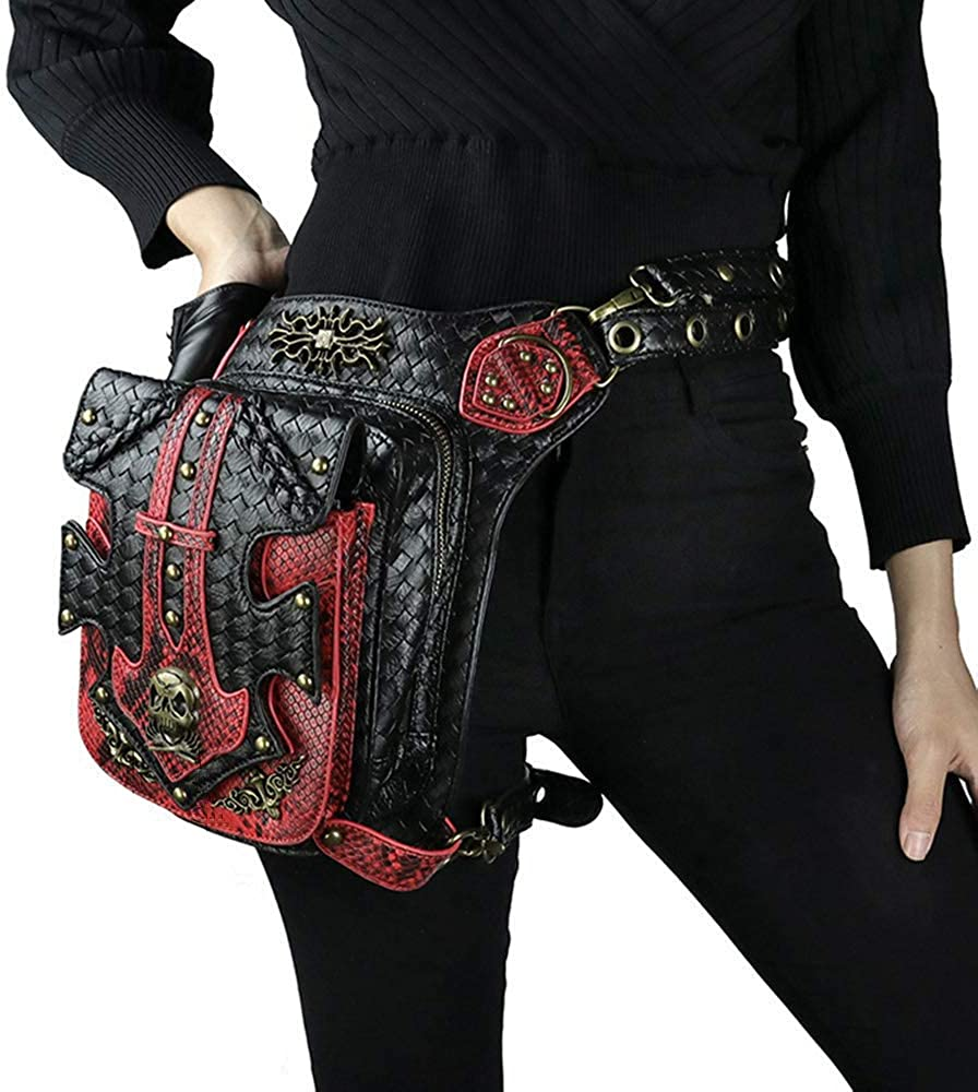 Cyber Sale Monday Deals Sales Steampunk Waist Bag Fanny Pack Fashion Gothic Leather Shoulder Crossbody Messenger Bags Thigh Leg Hip Holster Purse Travel Pouch Hiking Sport Chain Bags for Women Men