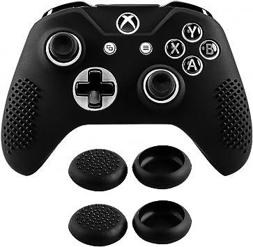 eXtremeRate Funda Silicona para Mando Xbox One Carcasa Suave Cubierta Antideslizante Protectora para Mando Controlador de Xbox One S/X con Dos Grips de Joyticks(Negro): Amazon.es: Electrónica