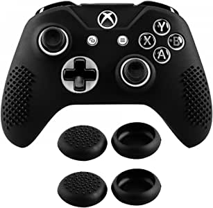 eXtremeRate Soft Anti-Slip Silicone Controller Cover Skins Thumb Grips Caps Protective Case for Xbox One X & One S Controller Black
