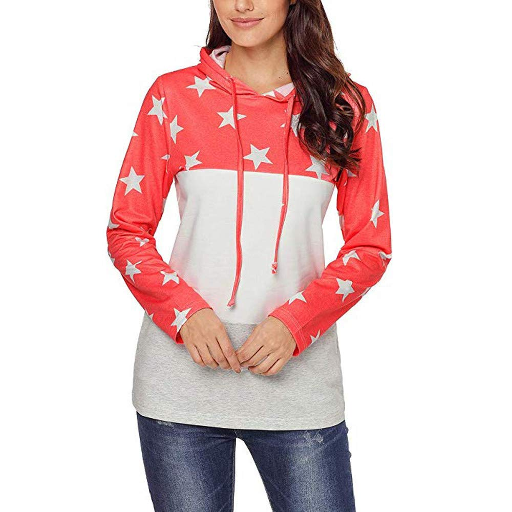 HHei_K Womens Trendy Star Print Color Block Drawstring Hoodie Long Sleeve Patchwork Sweatshirt