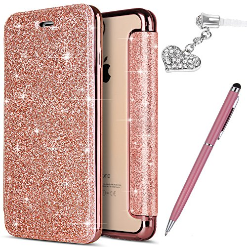 ikasus iPhone 5S Case,iPhone 5 Case,iPhone SE Case, Crystal Shiny Glitter Plating TPU PU Leather Flip Wallet Pouch Bookstyle Cover & Card Slots Protective Case Cover +Touch Pen Dust Plug,Rose Gold