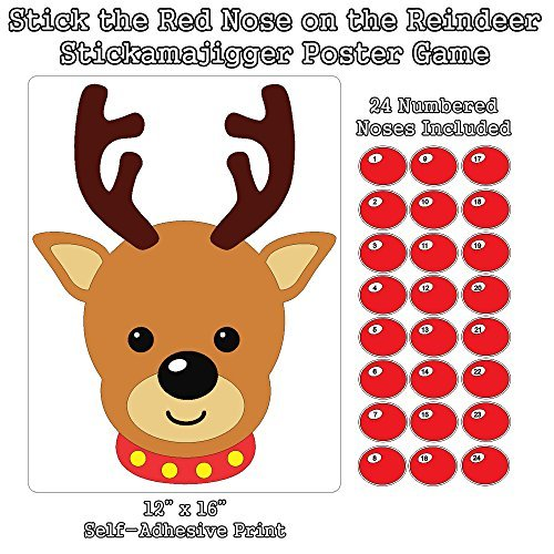 Stick the Red Nose on the Reindeer Stickamajigger Poster Game - Restickable Reusable
