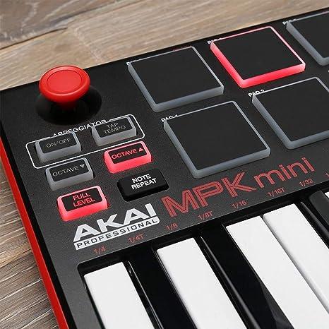 Akai Professional MPD218 | Controlador de tambor MIDI con Akai MPK Mini MKII | Teclado MIDI USB portátil de 25 teclas (rojo negro) + pedal y cable USB ...