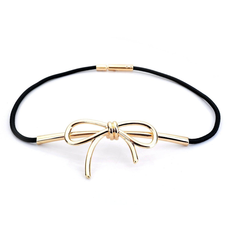 LuremeWomen's Fashion Skinny Narrow Elastic Stretch Waist Belt Waistband Metal Bow(13000013) (red )