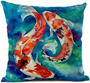 Diuangfoong Koi Fish Pillow Cover - Cushion Cover - Decorative Japanese Throw Pillow Covers 12