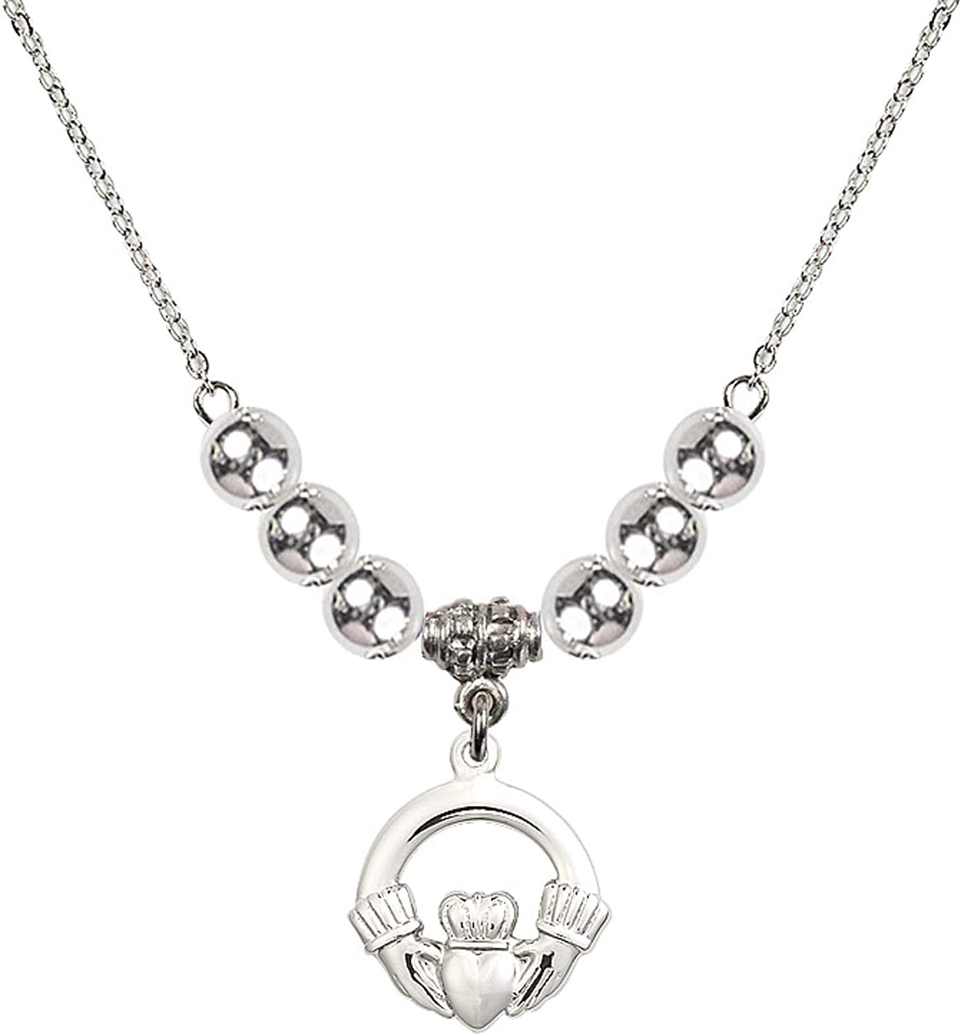 Bonyak Jewelry 18 Inch Rhodium Plated Necklace w// 6mm Sterling Silver Beads and Claddagh Charm