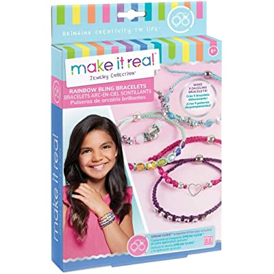 Make It Real - Rainbow Bling Bracelets. DIY Bead and Knot Bracelet Making Kit for Girls. Arts and Crafts Kit to Design and Create Unique Tween Knot Bracelets with Wax Cord, Beads, Charms and Gem Links: Toys & Games