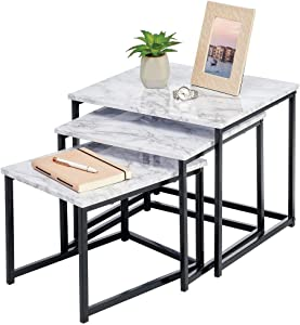 mDesign Modern Farmhouse Nesting Side/End Table - Metal Wood Design - Sturdy Vintage, Rustic, Industrial Home Decor Accent Furniture for Living Room, Bedroom - Set of 3 - Marble/Black