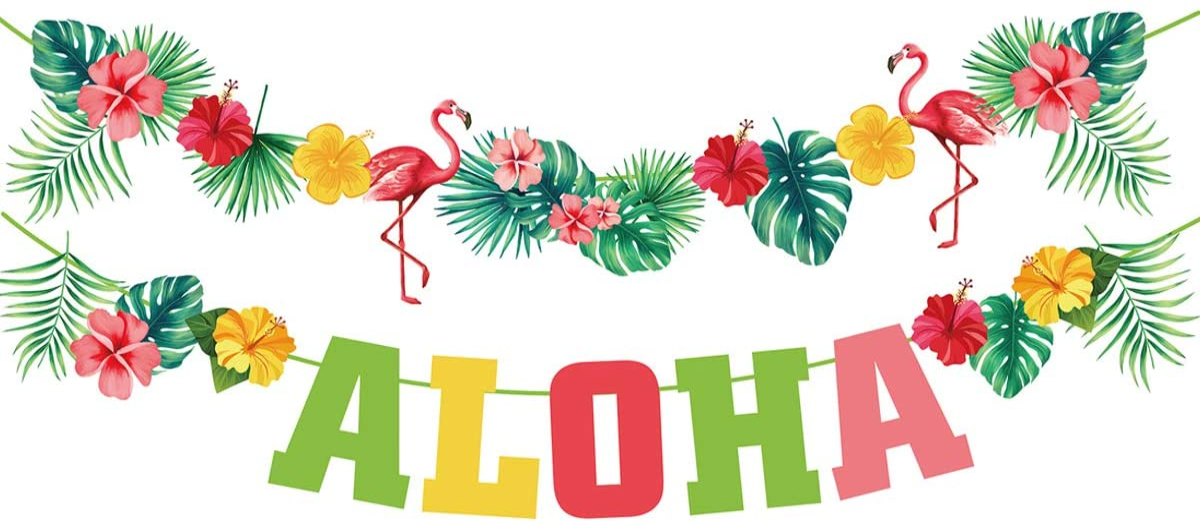 Aloha Hawaiian luau dancers pig palm tree pineapple confetti die cuts birthday party favor table decor invitation inserts wedding honeymoon