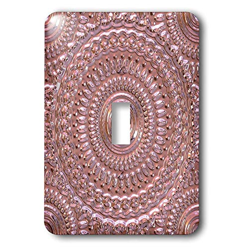 3dRose Andrea Haase Art Illustration - Embossed Metal Style Mandala Pattern In Rose Gold - Light Switch Covers - single toggle switch (lsp_289384_1)