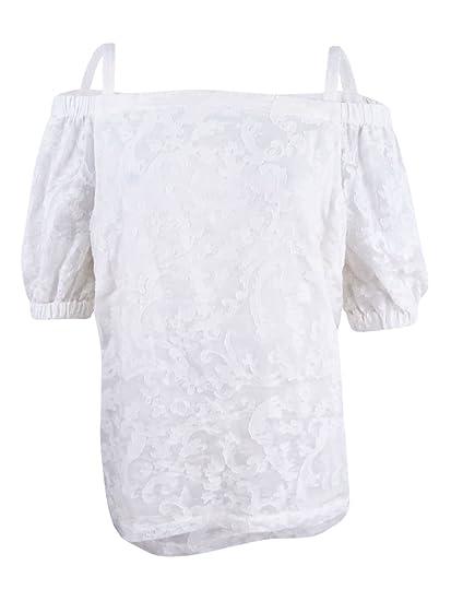 bf2642fc1e5268 Lauren Ralph Lauren Womens Silk Blend Off the Shoulder Casual Top White M