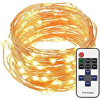 Cymas LED String Lights with Remote Control, 33ft 100LED Waterproof Decorative Lights Dimmable, Copper Wire Lights for Indoor and Outdoor, Bedroom, Patio, Garden, Wedding, Parties (Warm White)