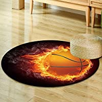 Round Rugs for Bedroom illustration of the basketball ball enveloped in fire flames isolated on black  Circle Rugs for Living Room -Round 39