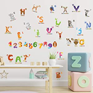 Animal ABC & 123 Adhesive Wall Decals - JesPlay Wall Décor Stickers for Kids & Toddlers Include Alphabet, Letters & Numbers - Removable Wall Decor for Bedroom, Living Room, Nursery, Classroom