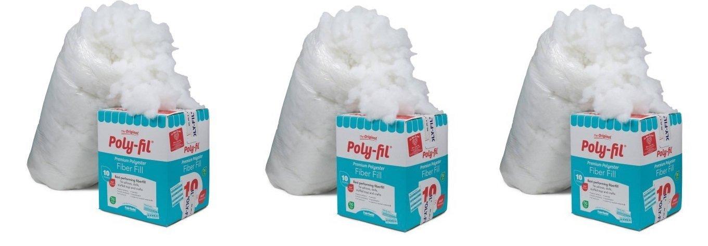 Fairfield 10-Pound Poly-Fil Premium Polyester Fiber, White | Smooth Consistency (10-Pound) (3-Pack)