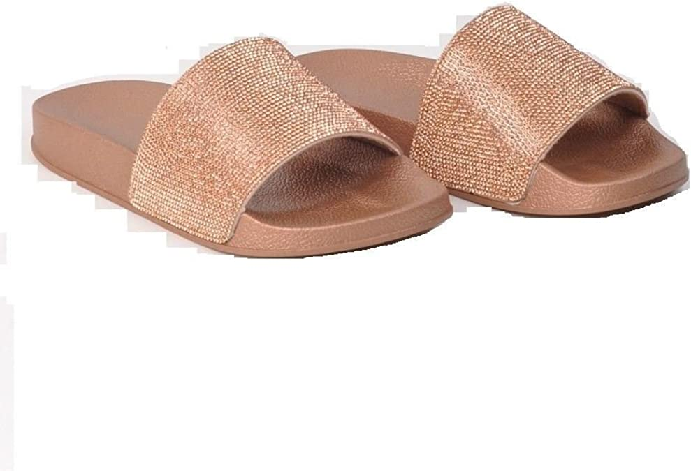 WOMENS ROSE GOLD DIAMANTE SLIP ON SLIDERS FLAT SUMMER DRESSY SANDALS LADIES SIZE