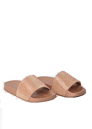 99535692f3136 Womens Sparkle Diamante Flip Flop Rubber Shoe Sliders Ladies Slip On  Slippers UK Rose Gold