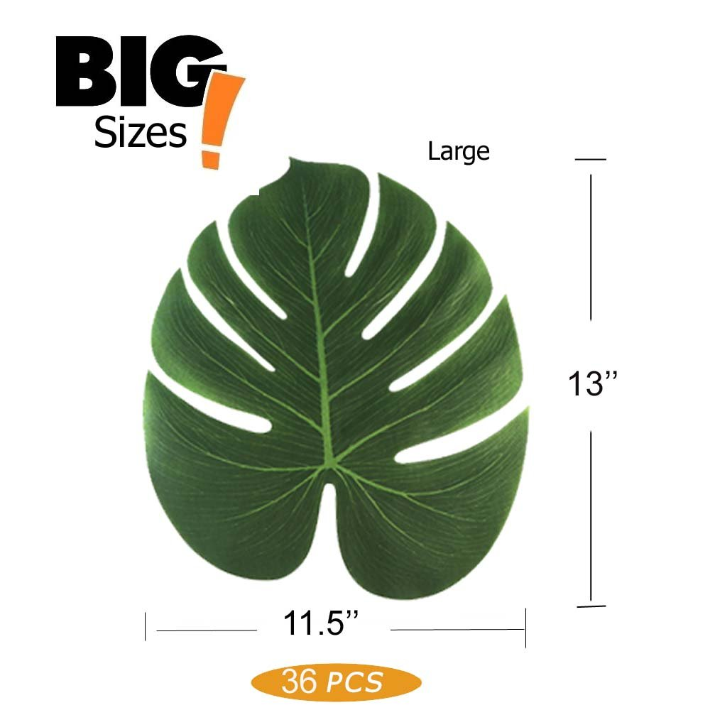 13'' Tropical Palm Leaves Plant Imitation Leaf Hawaiian Luau Party Jungle Beach Theme BBQ Birthday Party Table Decorations (36 Large)