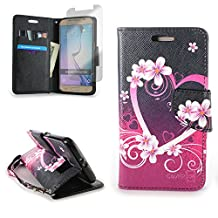 CoverON® for Samsung Galaxy S6 Wallet Case [CarryAll Series] Flip Credit Card Phone Cover Design Pouch (Pink Heart) with Screen Protector and Wristlet Strap