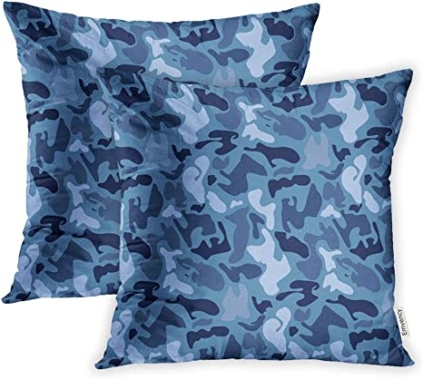 Amazon Com Emvency Pack Of 2 Throw Pillow Covers Print Polyester Zippered Pillowcase Abstract Military Blue Camouflage Made Of Splash Camo Dark Pattern For Army 20x20 Square Decor For Home Bed Couch Sofa