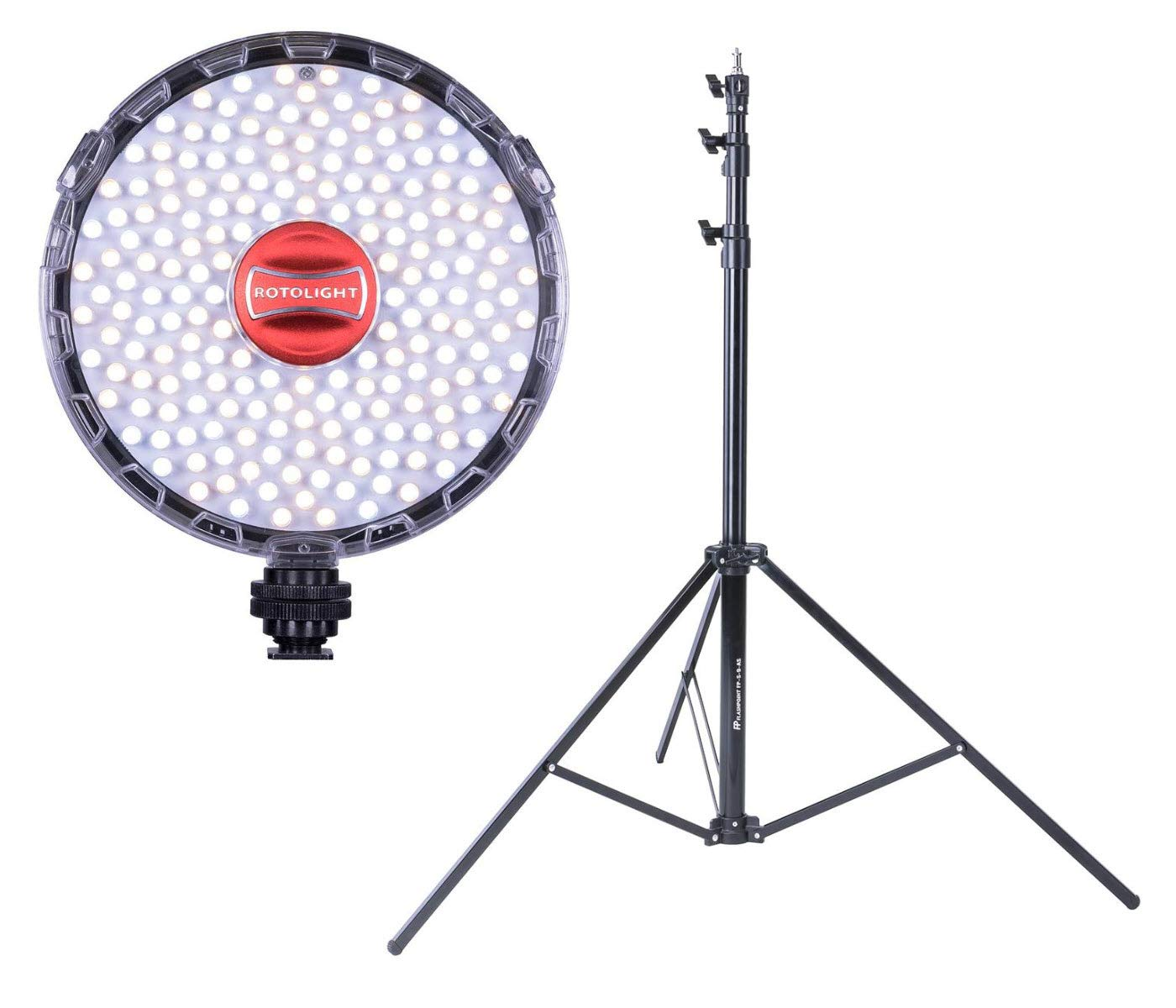 Rotolight NEO II On-Camera LED Lighting Fixture, Light and Flash Modes Bundle with Flashpoint 9 Foot Heavy-Duty Auto-Stand