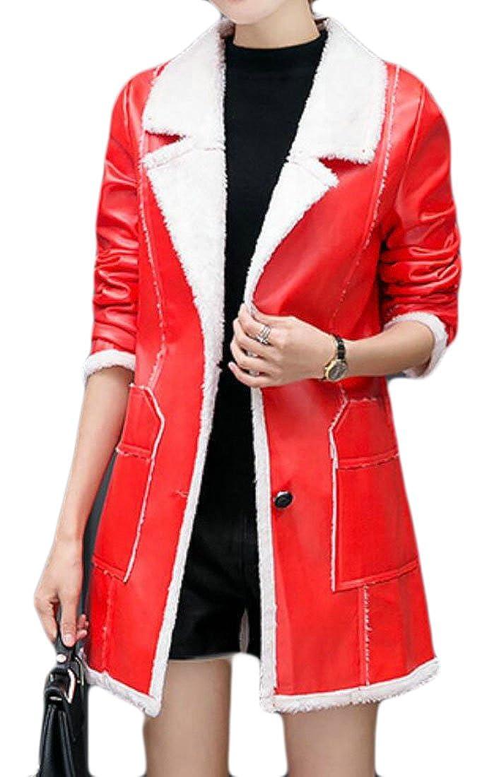 KLJR-Women Winter Vintage Fleece Lined PU Leather Trench Coats