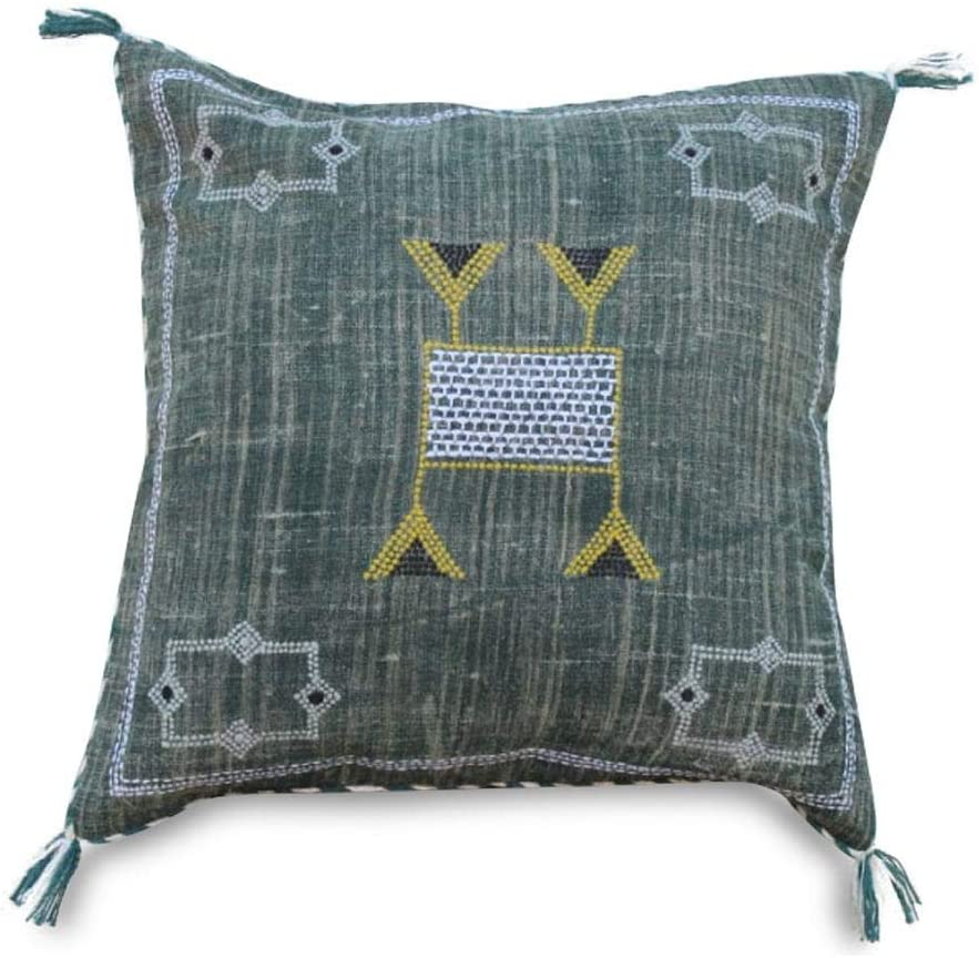 Set Of 2 Handmade and Hand-stitched Moroccan Cactus Sabra Pillow Cover Sabra Pillowcase Purple Color Handmade Cactus Cushion