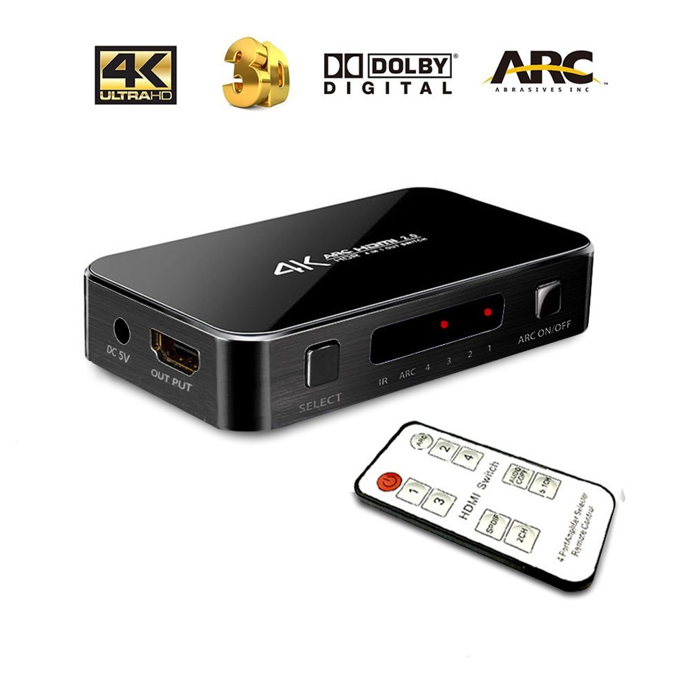 Ebetter Intelligent 4X1HDMI switch with 3.5 Audio Optical,4K Ultra HD 4 Port 4Kx2K HDMI switcher Box Selector Audio Extractor Splitter with IR Remote[Support ARC,3D,1080p]for HDTV Xbox Laptop (Black) by Ebetter (Image #1)
