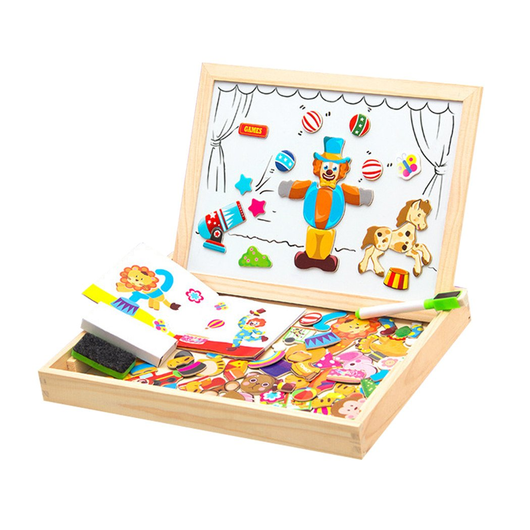 SIPLIV Wooden Magnetic Jigsaw Puzzles Double Sided Drawing Easel Magnetic Board Games Toys for Kids - Circus
