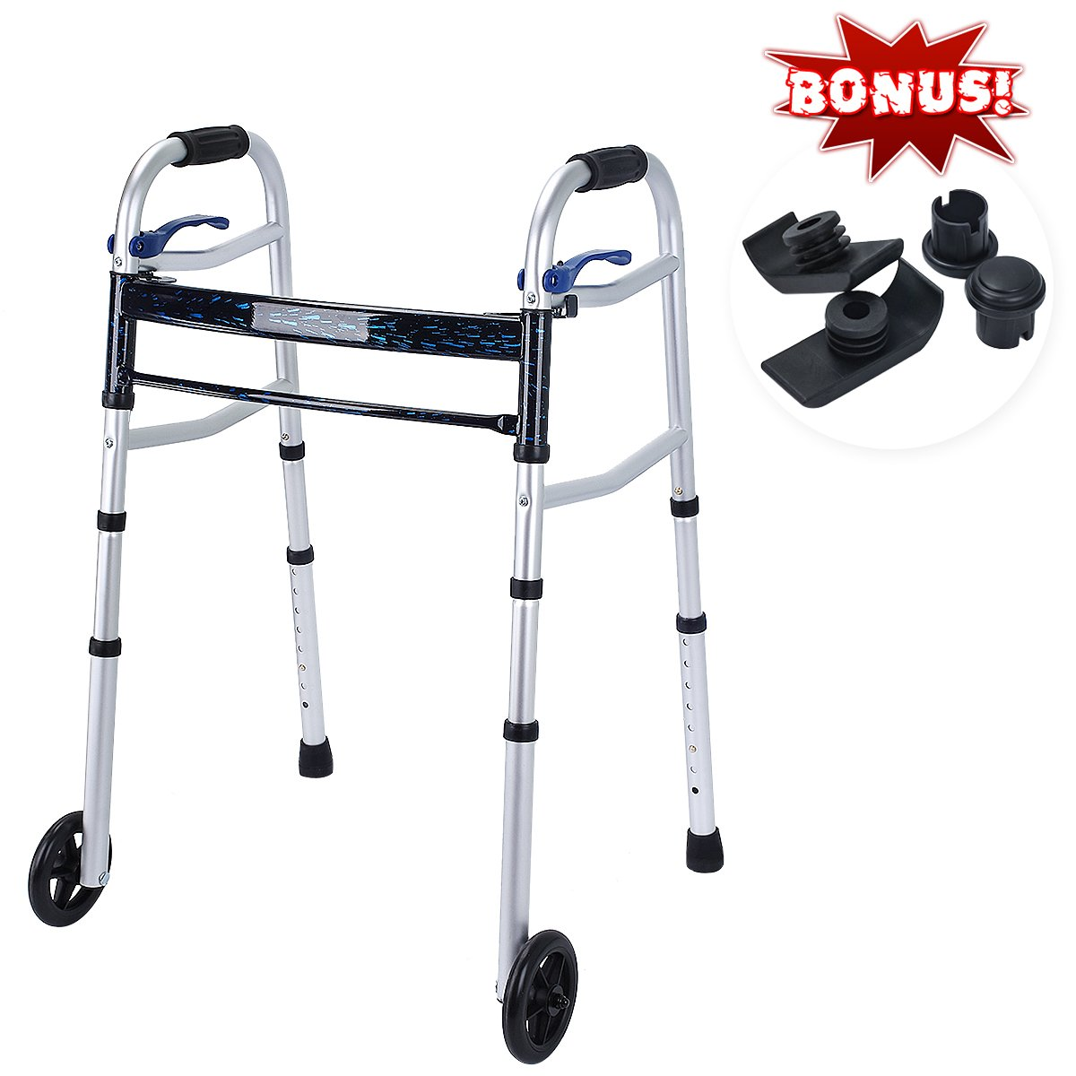 Healthline Compact Trigger Release 350 lbs Folding Walker with 5'' Wheels and Fold-up Legs, Lightweight & Portable - w/Bonus 2 Pairs of Glides by HEALTH LINE MASSAGE PRODUCTS