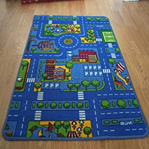 Childrens Kids Blue Car Road Rugs Play Mat